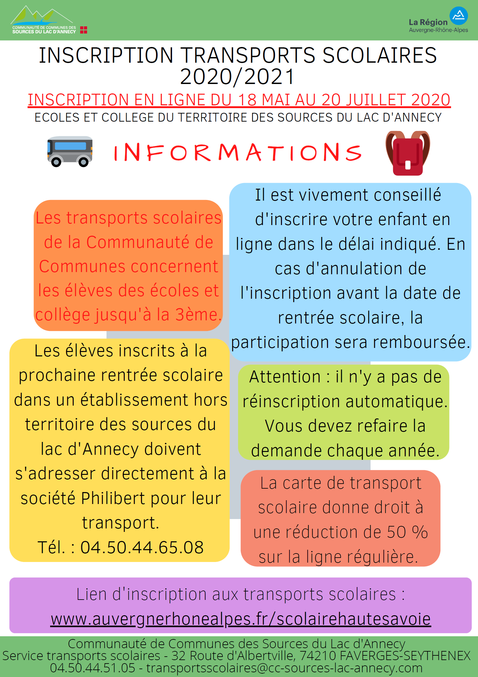 Informations inscriptions transport scolaires 2020-2021